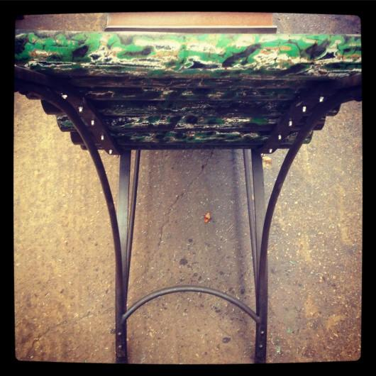 Up-cycled down pipe to chaise longue