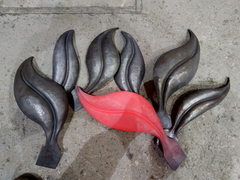 Langley Street Gate Forged Stainless Steel Leaves